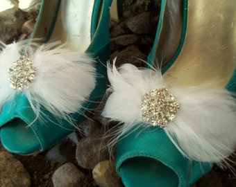 WEDDING SHOE CLIPS, Bridal Shoe CLips, Feather Shoe CLips, Rhinestone Shoe Clips, Bow Shoe Clips, Wedding Shoes Clips, Bridal Shoes Clips