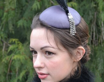 Purple Button Fascinator in blocked leather with vintage trim and rhinestones