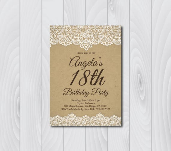 18th Birthday InvitationVintage Birthday Invitationecard