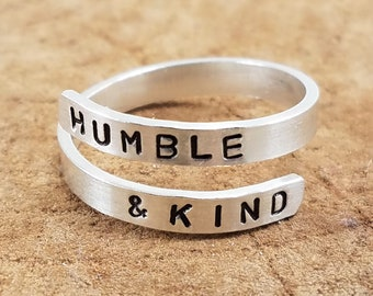 "Humble & Kind - 1/8"" Sterling Silver Double Wrap Ring; Custom; Personalize; Hand-Stamped"