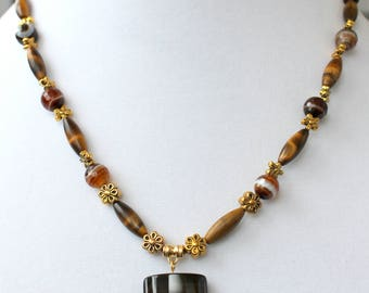 Dark Striped Agate Pendant with Tiger Eye and Agate Beads Necklace