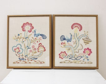 Embroidered Floral Framed Pair