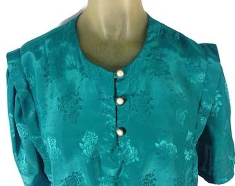 1960s Green Blouse, Vintage 60s Blouse, Embossed Green Floral Blouse, Pearl Buttons, Elastic Waist Blouse, Bubble Blouse, Art Deco Mad Men L