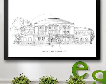 Ohio State University Art Print, Hand Drawn, Ohio Tech, State College Signed Art ( Sizes  5 x 7, 8 x 10, 13 x 19, 16 x 20)