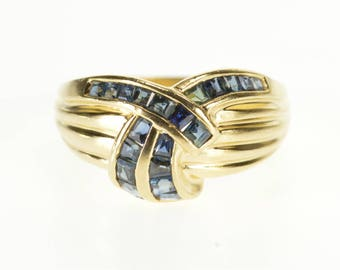 14k Princess Cut Channel Inset Sapphire Scalloped Ring Gold