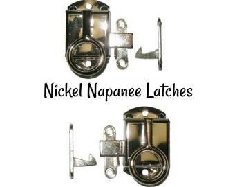 Nickel Latch - Nickel Plated Brass Napanee Style Cabinet Latch - Napanee Cabinet