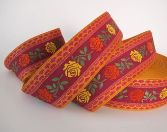 BAVARIAN ROSES 3 yards Jacquard trim. Coral, yellow, green, terracotta, brown on red. 2 inch wide. 2016-A Floral trim