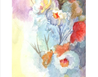 """Multicolor Flowers Watercolor """"Enjoy the day"""" from Barcelona, digital file to download. ID. 0422"""