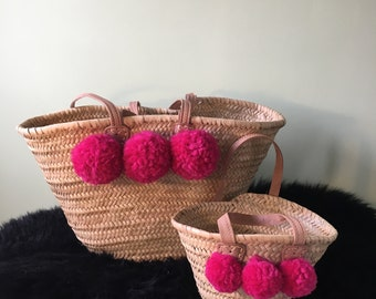 Baby pink pompom basket