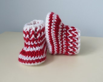 0-3 Months Crochet Red & White Striped Slip On Booties Slippers Baby 3.5 inch sole New Baby Gift Christmas Baby Shower