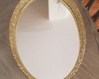 Vintage Vanity Tray, Elegant Boudoir Tray, Mirrored Vanity Tray, Hollywood Glam Dresser Tray, Footed Wide Vanity Tray, Ornate Filigree Tray