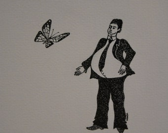 MINUTE butterfly, original drawing, ink, man