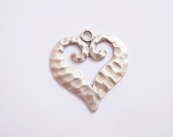 1 pc Matte  Silver Plated Base Heart  Pendant - Heart 60x60mm (416-002SP)