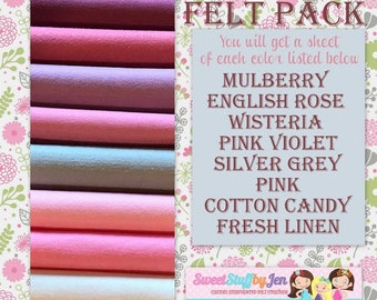 "True Love Valentine Felt Pack-9x12"" Sheets Wool Felt-Craft Felt-Wholesale-Wool Blend Merino Felt"
