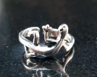 Lizard Toe / Midi  Ring - Sterling silver