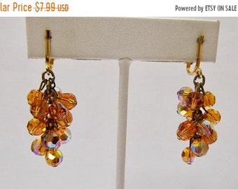 ON SALE Vintage Golden Aurora Borealis Crystal Cha Cha Style Dangle Earrings Item K # 324