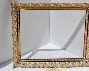 Vintage 5 x 7 White Washed Gold Filigree Photo Frame - 50's ornate frame - shabby chic - glam