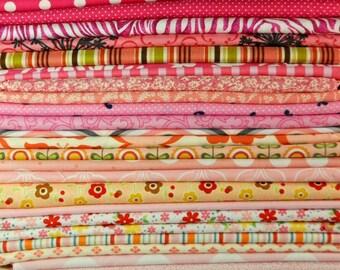Designer Fabric Scrap Bag Pink, 2 yards total