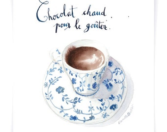 Hot Chocolate art print from an Original Watercolour Illustration - 8.5x11 -  Culinary collection - art print - gift for her