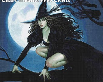 Elphaba  - emailed PDF cross-stitch chart / pattern, original art © Aly Fell, licenced by Paine Free Crafts