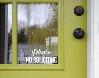 No Soliciting Sign | Please No Soliciting Vinyl Decal - No Solicit