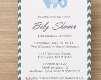 Printable Custom Baby Shower Invitations: Personalized Baby Boy Elephant Baby Shower Invitation.  Digital download.