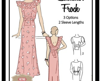 1930s  Summer Frock Sewing Pattern - Full Size PDF Dress Sewing Pattern - PDF  Instant Download