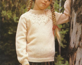 PDF Knitting Pattern, Girl Sweater Jumper, 8Ply, Sz 4 - 12