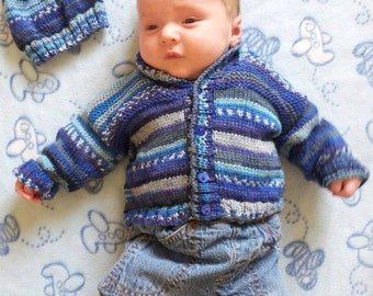 Self-striping baby knitting pattern, Child's cardigan and hat, Baby jacket and hat, Double knitting pattern, Pdf digital pattern download