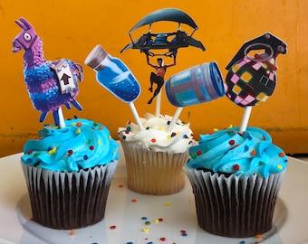 FORTNITE birthday, Fortnite cupcake toppers, fortnite party, 12CT cupcake toppers, Boogie Bomb,llama,chug jug, mini shield