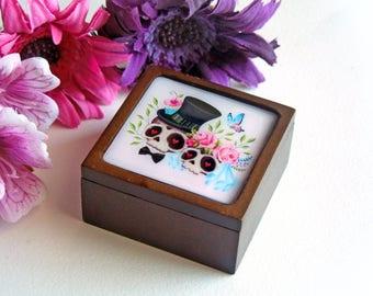 Votre choix - Sugar Skull mariée et le marié petite boîte en bois, boîte de bague de fiançailles, boîte à bijoux, coffret cadeau, coffret cadeau - réalisé sur commande