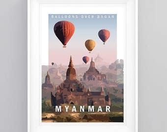 BAGAN, MYANMAR, Vintage Travel Poster, Temples, A5/A4/A3 Print