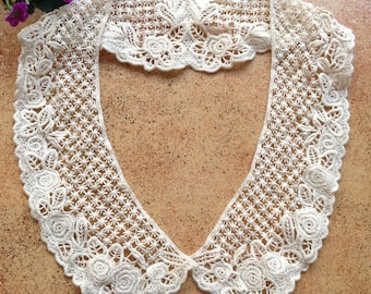 Beige Lace collar, Cotton Lace Collar, Cotton Venise Embroidery Lace Applique