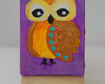 Two Mini paintings and two mini Easel, Owls paintings, Cute paintings, small canvas, easel included, tiny owl, miniature painting