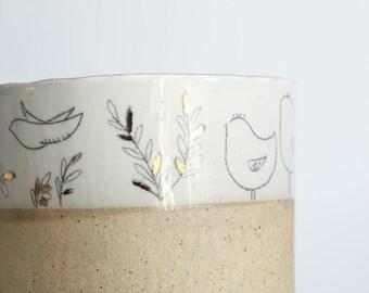 pottery plant pot, meduim plant pot, ceramic plant pot, succulent plant pot, housewarming gift, gift for host, stonewarebird planter