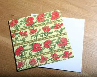 Vintage 1970s Textile Design Greeting Card, 'Poppys' *Free UK Postage*