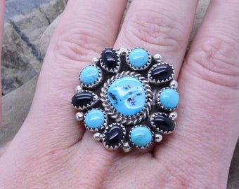 Natural 6 Sleeping Beauty Turquoise and 5 Black Onyx Cluster Gemstone Handmade ladies Ring size 9