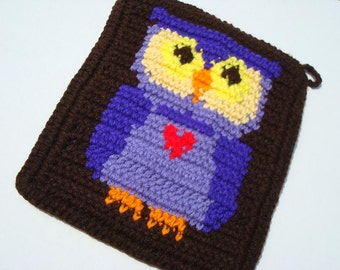 Set of Two Purple Owl Potholder - Brown Pot Holder - Crochet, Crocheted Potholder, Pot Holder - Hoooked Handmade MADE TO ORDER