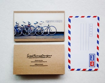 Bicycle Greeting Card - England Travel Photography, Brown Card with Air Mail Envelope, Cambridge England, Blank Greeting Card, Paradise St.