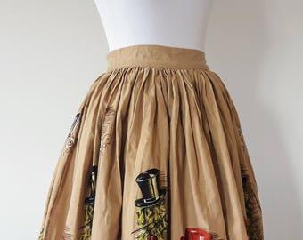 Vintage 1950's Novelty Print Dog Skirt | Novelty Print Skirt | 1950's Skirt With Dogs |