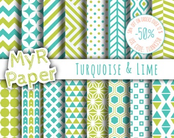 """Geometric Digital Paper Pack: """"Turquoise & Lime"""" geometric patterns for scrapbooking, invites, cards - printable - Backgrounds"""