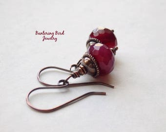 Ruby Red Stone Earrings, Raspberry Jade Drop, Patina Copper Jewelry