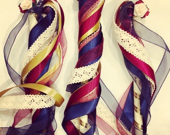 Flower fairy wands. Custom colour scheme, ribbon wands for flower girls and bridesmaids.