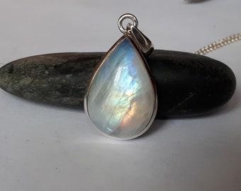 Rainbow moonstone pendant, teardrop, set in  92.5 sterling silver