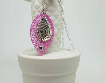 Pink leaf necklace