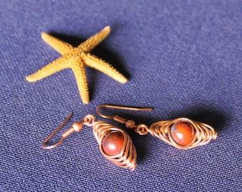 Copper Earrings, Dangle Earrings, Poppy Jasper Earrings, Herringbone Weave, Poppy, Jasper,Patina