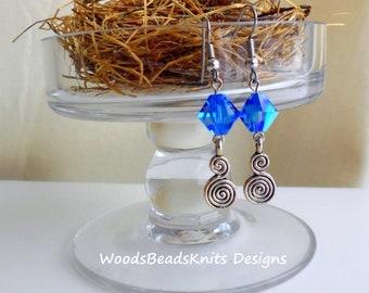 Earrings, Swarovski Crystal Earrings, Blue Earrings, Stainless Steel Hypoallergenic Hooks, Dangle Earrings, Mother Gift, Mothers Day Gift