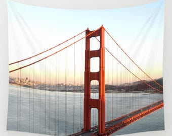 Golden Gate Bridge Wall Tapestry,  San Francisco Image, Bay Area Bridge Wall Hanging, Sunset, California, Travel Wall Art, Landmark Historic