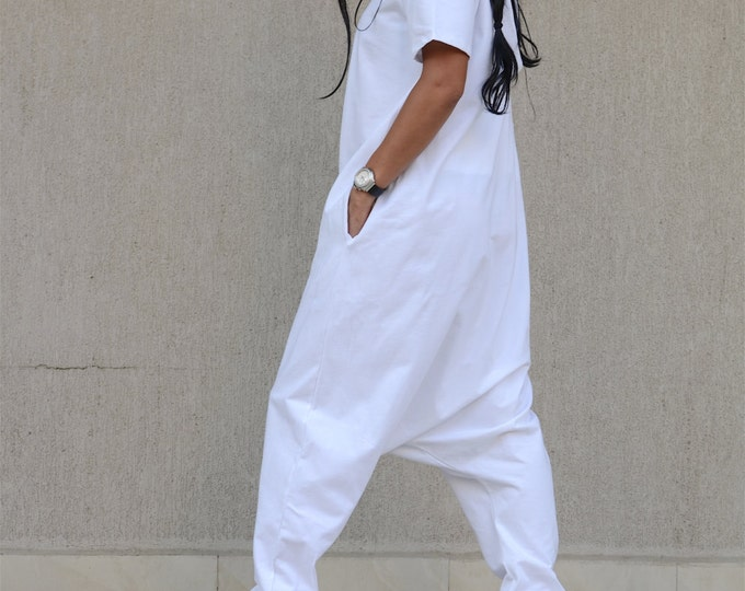 Featured listing image: White harem pants, casual pants, extravagant pants, loose pants, drop crotch, KOTYTO clothing, loose jumpsuit, KOTYTO, off white jumpsuit