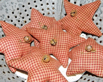 Holiday Special Red Homespun Checked-Primitive Star Homespun Ornies-Set Of 3-FAAP